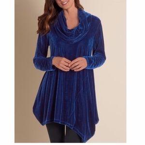 Soft Surroundings Blue Velvet Asymmetrical Tunic